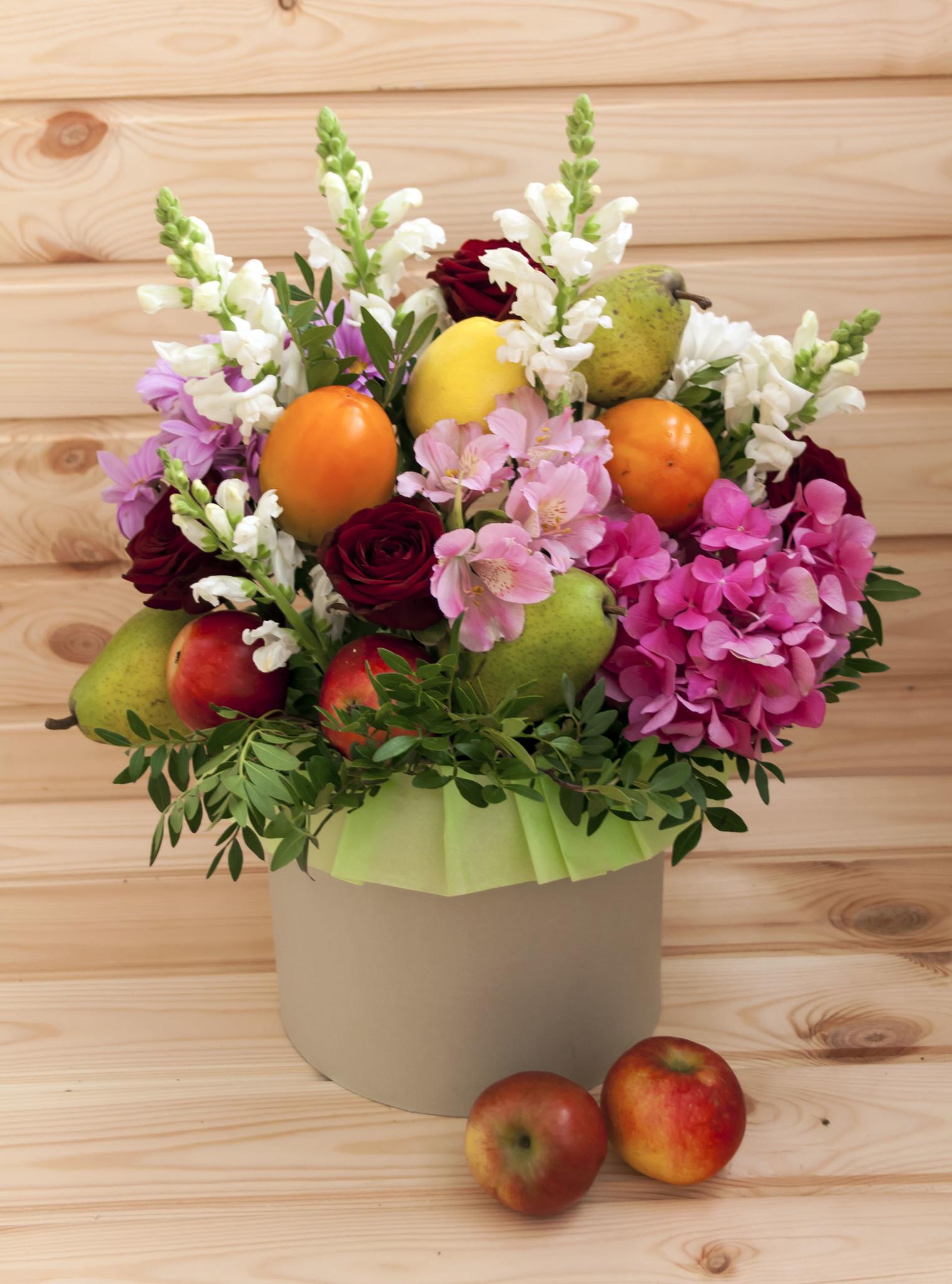 Букеты с фруктами и цветами фото как сделать 166