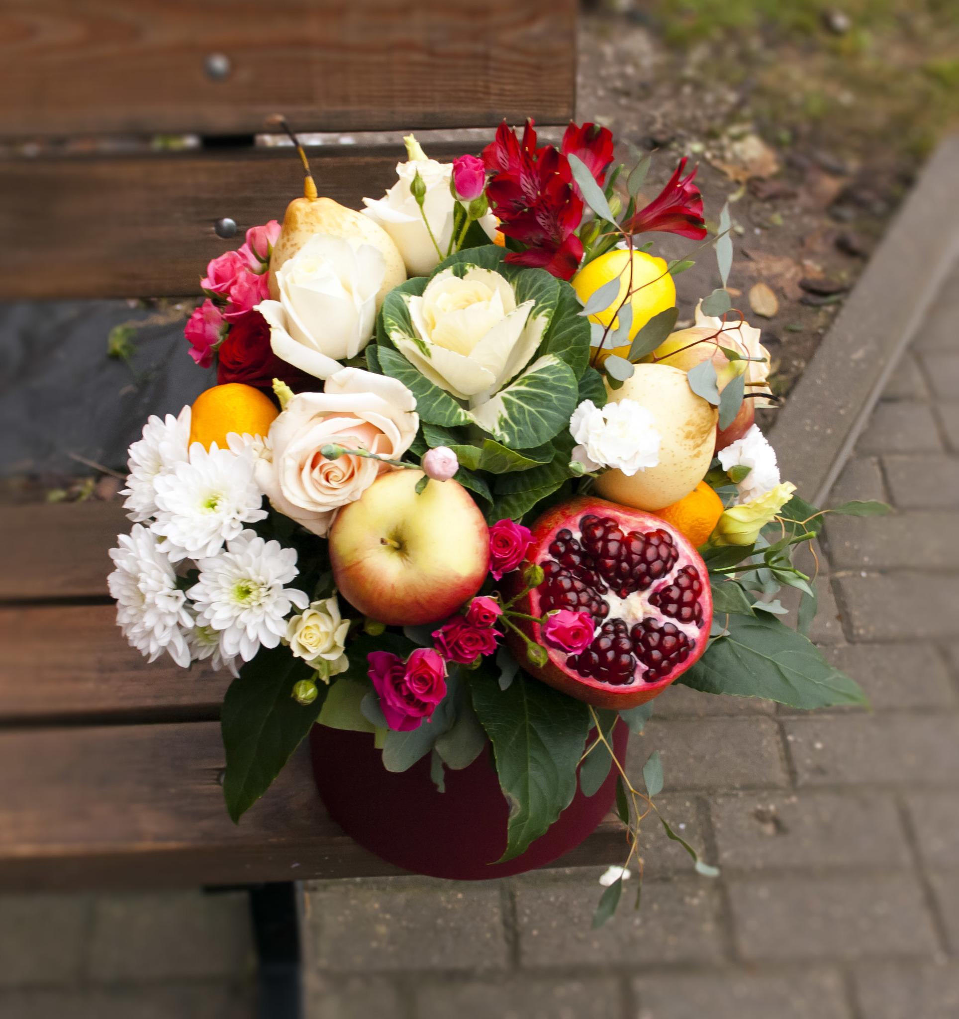 Букеты с фруктами и цветами фото как сделать 964